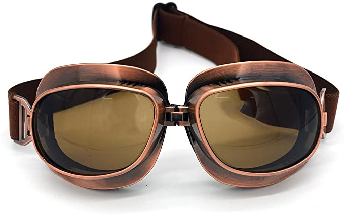 Steampunk Clothing, Fashion, Costumes Evomosa Motorcycle Goggles Vintage Pilot Goggles Retro Motocross Goggle Outdoor Eyewear Sports Glasses for Half Helmet  AT vintagedancer.com