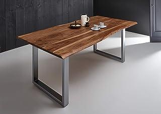 SAM Esszimmertisch 160x90 cm Quintana, echte Baumkante, nussbaumfarben, massiver Esstisch aus Akazienholz, Metallbeine Silber, Baumkantentisch