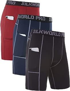 SILKWORLD Men's 3 Pack Sports Tight Compression Shorts