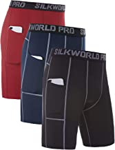 SILKWORLD Men's 3 Pack Sports Tight Compression Shorts