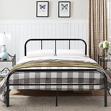 GreenForest Queen Size Bed Frame Metal Mattress Support Platform Bed Frame Headboard Footboard, Black