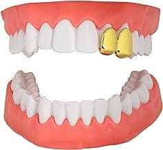 NewAgeBling 2 Teeth Cap Custom Fit 14k Gold Plated Grillz Hip Hop w/Mold
