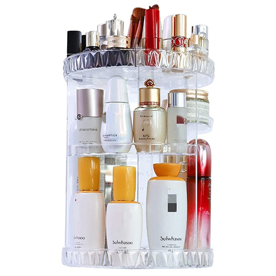 大いに交じるスリーブ化粧品収納ボックス 化粧品ストレージボックスシェルフ透明なアクリルデスクトップスキンケアドレッシングテーブル口紅の仕上げを回転させます (Color : Clear, Size : M)
