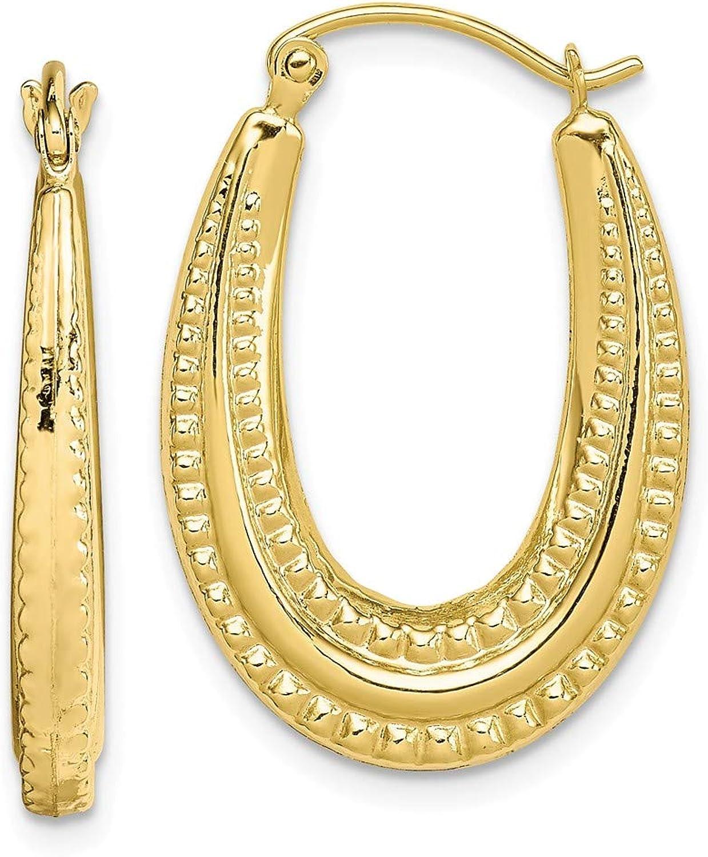 10K Textured Oval Hollow Hoop Earrings