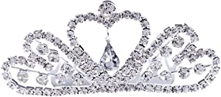 D DOLITY Shiny Bling Crystal Heart Mini Crown Tiara Wedding Woman Bridal Jewelry
