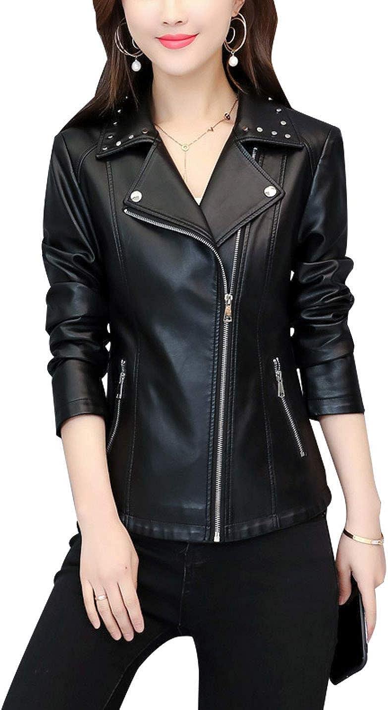 Springrain Women's Fashion Slim Fit Zip Up Rivet Lapel Short PU Leather Jacket