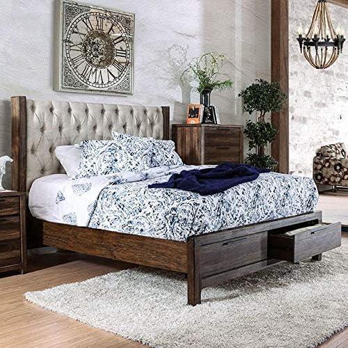 Amazon Com Hutchinson Transitional Style Rustic Natural Tone Finish King Size 6 Piece Bedroom Set Furniture Decor