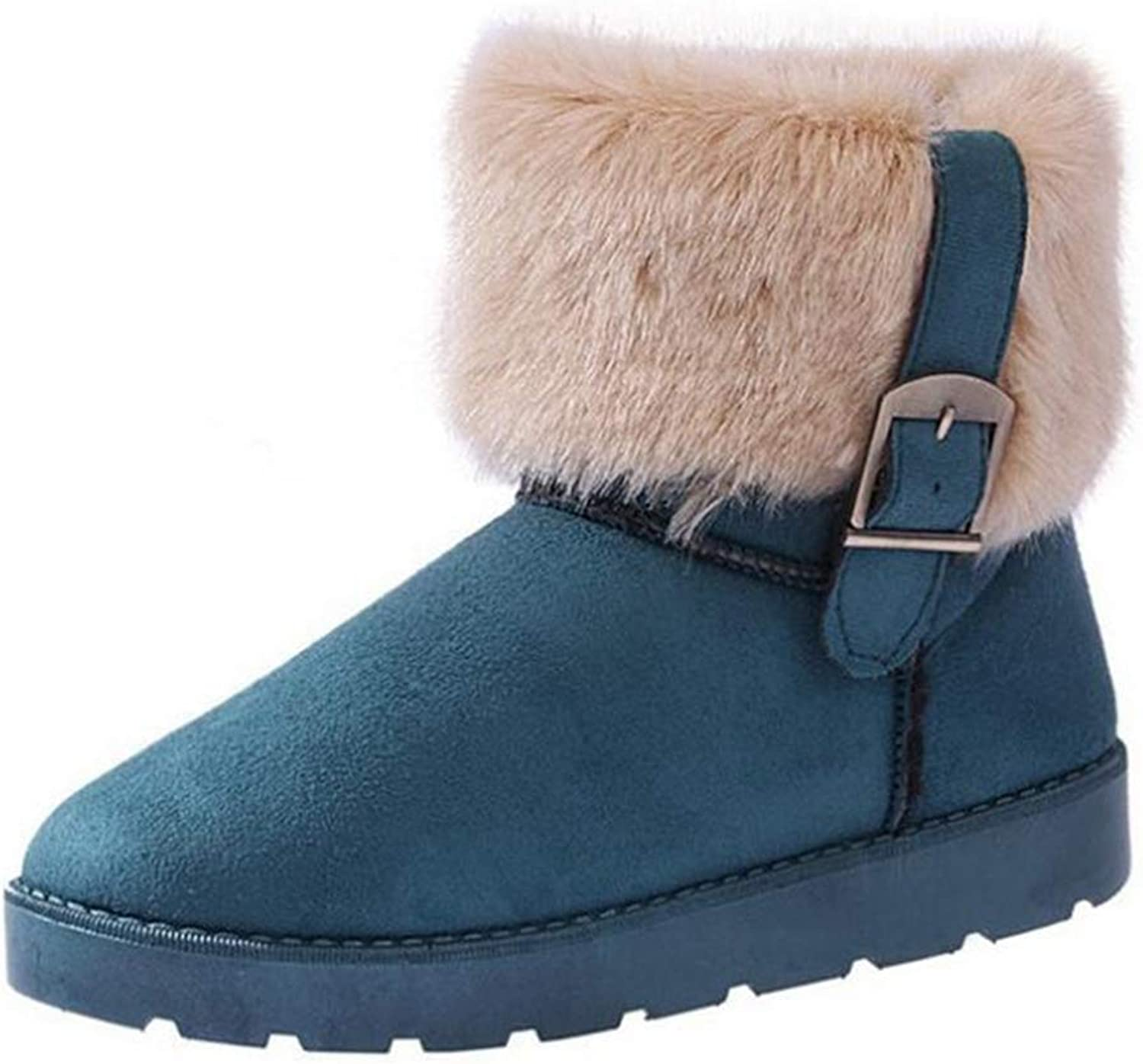 T-JULY Platform Winter Snow Boots for Women Buckle Sweet Furry Warm Ankle Boots Slip On Flat Cotton shoes