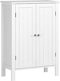 Homfa Armario Almacenaje Armario de Suelo para Cocina Salón Baño Dormitorio con 2 Puertas 2 Estantes Blanco 58x28x80cm