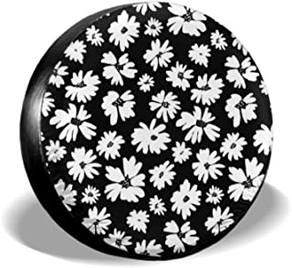 KUneh Hand Drawn Tropical Flowers Palm Leaves Jungle Plants Tire Tote Cover Spare Tire Tote Tire Cover Waterproof Uv Sun 14 - 17 Fit for Jeep Trailer Rv SUV and Many Vehicle