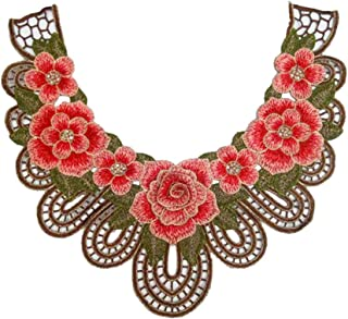 3D Embroidery Flower Laces Fabric Collar DIY Handmade Lace Applique For Sewing Supplies Crafts