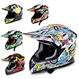 Hecht Motocrosshelm 51915 Motorrad-Helm Enduro ABS Quadhelm (XS (53-54 cm), hellblau/rosa/gelb)