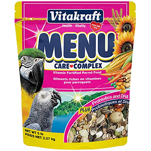 Roll over image to zoom in Vitakraft Menu Vitamin Fortified Parrot Food, 5 Lb.