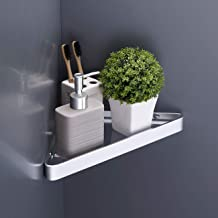 KES Bathroom Corner Shelf Tempered Glass Floating Shower Caddy No Rust Wall Mount Triangle Wall Shelf Aluminum Silver Finish, BGS4100DG