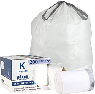 Plasticplace Custom Fit Trash Bags │ Simplehuman Code K Compatible (200 Count) │ White Drawstring Garbage Liners 10 Gallon / 38 Liter │ 24.4