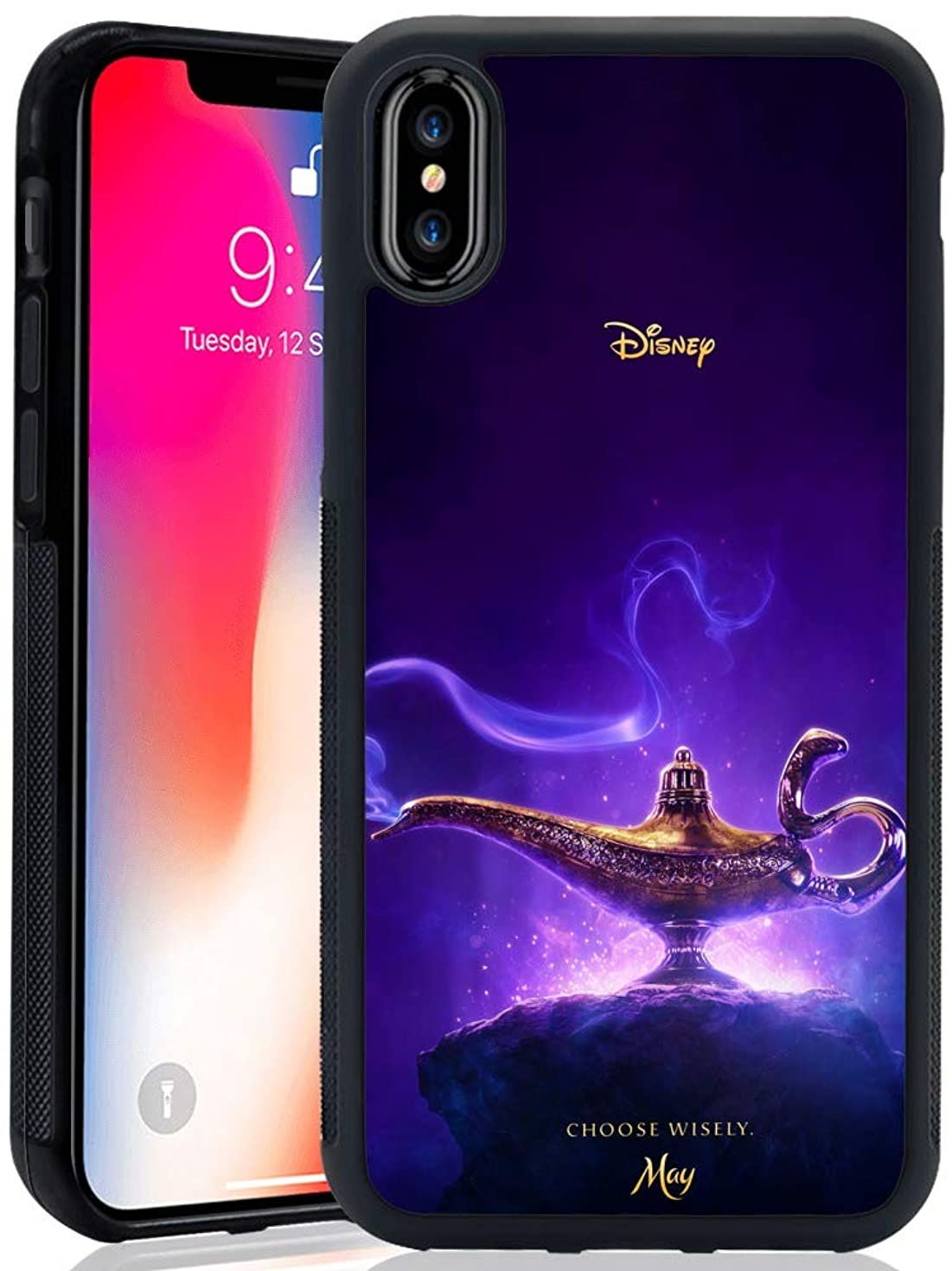 DISNEY COLLECTION Phone Case Compatible iPhone X/10/Xs AladdinS God Lamp Reinforced Drop Protection Hard PC Back Flexible TPU Bumper Protective Case for iPhone X/10/Xs