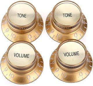 Musiclily Pro Imperial Pulgadas Tamaño Botones de Potenciómetros Reflector 2 Volumen 2 Tono Perillas Set para Guitarra Eléctrica USA Made Les Paul SG, Oro con Oro Top