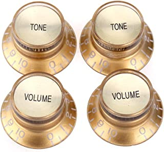 Musiclily Pro Imperial Inch Size Top Hat Bell Reflector 2 Volume 2 Tone Knobs Set for USA Les Paul SG Electric Guitar, Gold with Gold Top