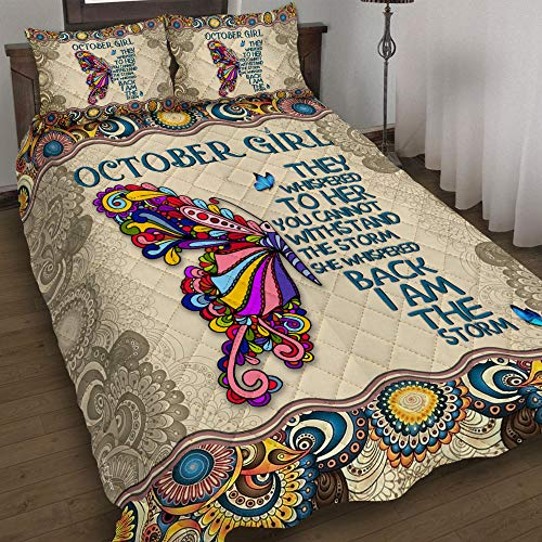 GEEMBI Quilt Bedding Set-October Girl Quilt Bed Set MLH1157QS, Queen Size Coverlet for All Season-Soft Microfiber Bedspread+Pillows-Quilts Gifts (King,Queen,Twin)