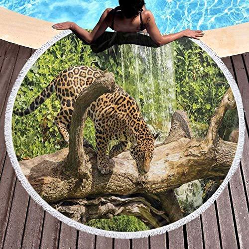 Jaguar Cat On Tree Trunk Cascada Impreso Toalla de Playa Redondo Yoga Picnic Mat Mantel Redondo Ultra Suave Super Absorbente Agua Toalla de Terry con Borlas