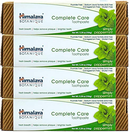 Himalaya Botanique Complete Care Toothpaste, Simply Peppermint, Plaque Reducer for Brighter Teeth and Fresh Breath, 5.29 oz, 4 Pack