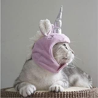 Fighrh Pet Plush Unicorn Hat Pet Cat Hat Dog Hat Pet Birthday Hat Holiday Party Dress Up Halloween Christmas Headgear Weekend Outdoor Dress Up Headwear