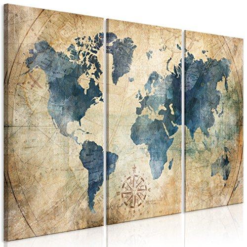 murando Quadro Mappamondo 120x80 cm Stampa su tela in TNT XXL Immagini moderni Murale Fotografia Grafica Decorazione da parete 3 pezzi Rose k-A-0415-b-e