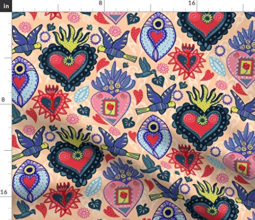 Spoonflower Fabric - Heart Mexican Folk Art Birds Hearts Steampunk Tattoos Valentine Printed on Petal Signature Cotton Fabric by The Yard - Sewing Quilting Apparel Crafts Decor