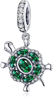Tortoise Charms Authentic Sterling Silver Charms Bangle Bracelet, Green Crystal Birthstone Best Sea Turtle Necklaces Love Animal Bead Charms Christmas Jewelry Gift for Fashion Women Snake Chain