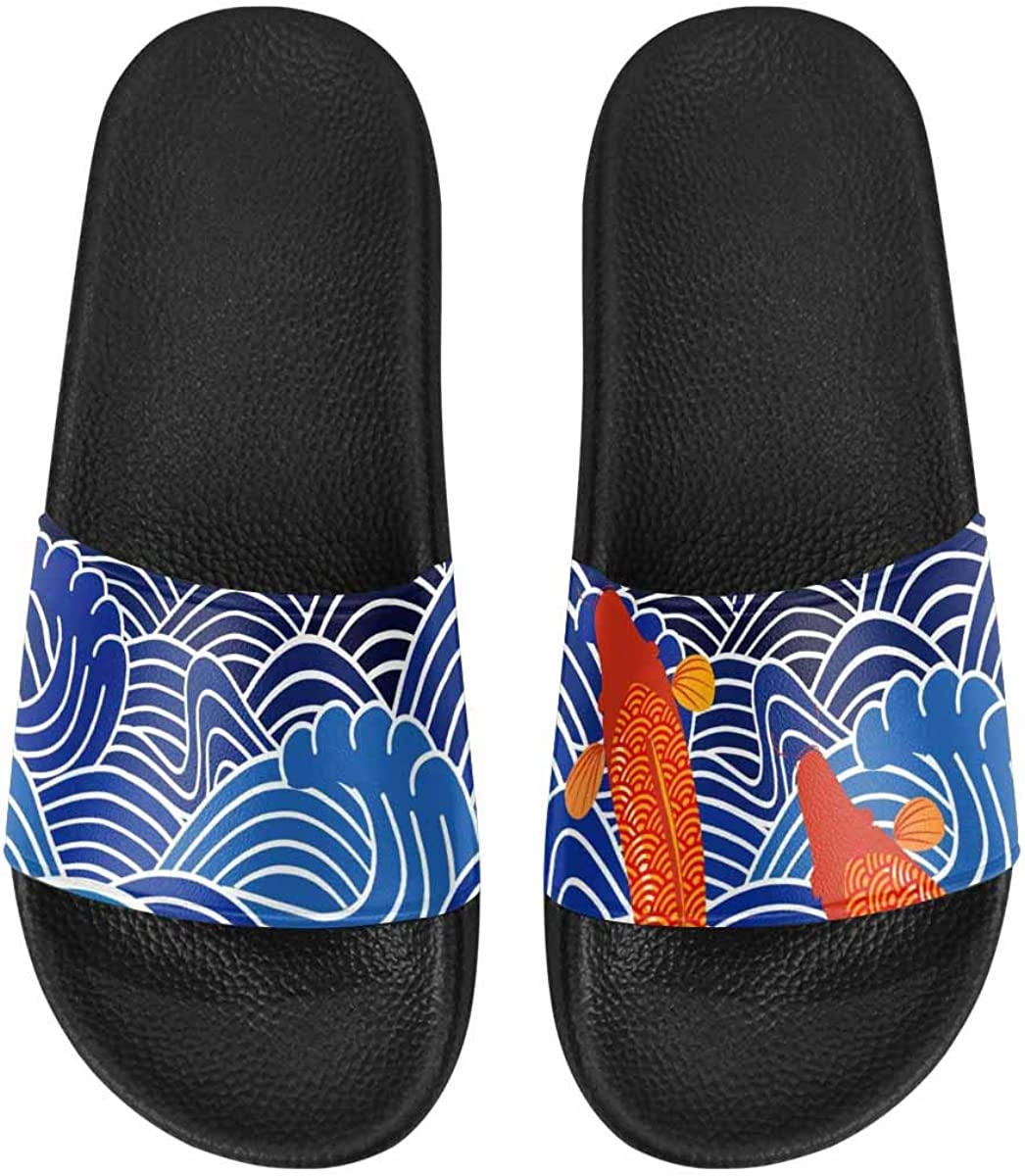 InterestPrint Women's Slide Sandals with PVC Straps and Sole Butterflyon White Background