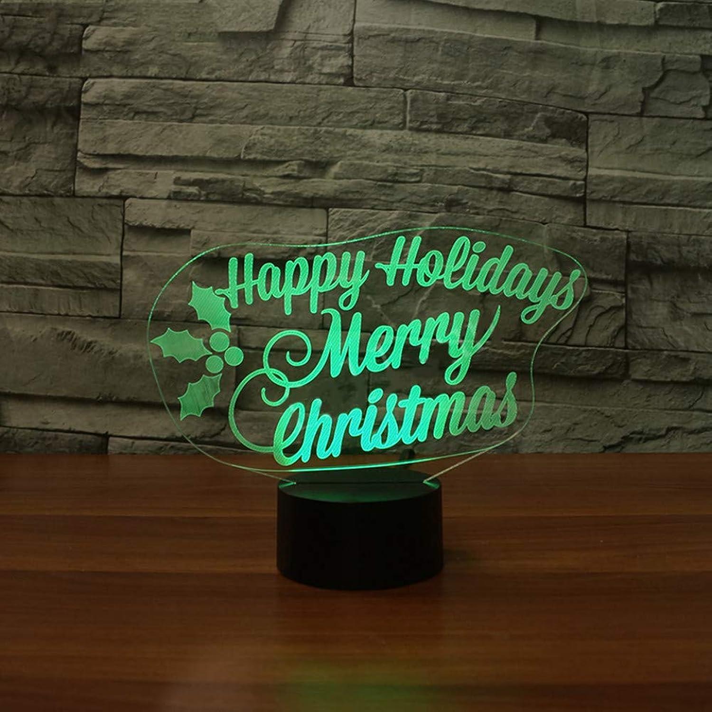 WZYMNYD Schlafzimmer Nacht Kreative Dekor USB 7 Bunte ndern Nachtlicht 3D LED Frohe Weihnachten Tischlampe Für Kinder Xms