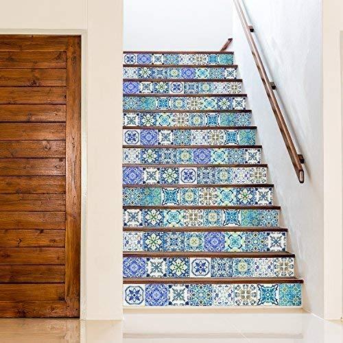 Walplus Adhesivos de Pared Extraíble Autoadhesivo Arte Mural Vinilo Decoración Hogar Bricolaje Living Cocina Dormitorio Decor Papel Pintado Regalo Mediterráneo Skye Clásico Azul Azulejo Mosaico