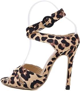 ESAILQ 2019 Zapatos de Baile Latino con Sandalias de Baile de Baile para Adultos y Mujeres. Zapatos de Baile de salón de tacón Alto de Leopardo. Primavera y Verano. Fondo Suave.?Negro 35-40?