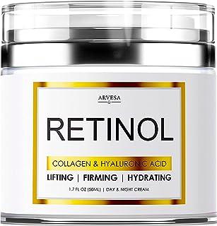 کرم مرطوب کننده Retinol NEW 2019 برای پوست صورت و چشم - ساخته شده در ایالات متحده آمریکا - با اسید هیالورونیک - رتینول فعال 2.5٪ - کرم صورت ضد پیری برای کاهش چین و چروک و خطوط زیبا - بهترین روز و شب