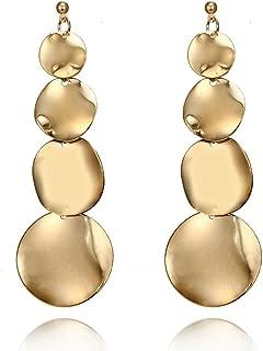 Geometric Round Coin Earrings For Women Fashion Punk Gold Indian Long Drop Earrings Jewelry