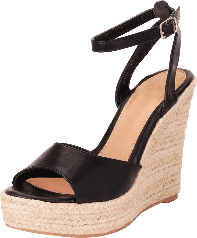 Cambridge Select Women's Ankle Strap Chunky Espadrille Platform High Wedge Sandal
