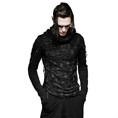 Men Black White Casual Long Sleeve Shirts Leather Necklace Fashion Dress Shirts Male Punk Gothic Stage Clothes Casual Shirts