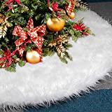 AMAUK Jupe de Sapin de Noël Blanc Peluche Tapis de Sapin Couvre Pied Sapin Noel (90cm)