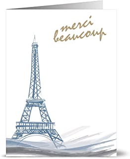 Thank You Cards – 24 Pack – Eiffel Tower – Unique Design – IVORY ENVELOPES INCLUDED –Appreciation Greeting Card – Glossy Cover Blank Inside – By Note Card Café