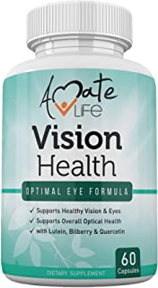 Vision Health with Quercetin Dihydrate 100mg - Essential Eye Vitamins, Lutein 20mg & Bilberry Capsules for Natural Eye Sup...