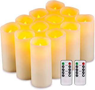 """Flameless Candles Flickering LED Candles Set of 12 (D:2.2"""" X H:5"""") Ivory Real Wax Pillar Battery Opeated Candles with 10-K..."""