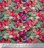 Soimoi Rosa Georgette Viskose Stoff Blätter, Blumen und