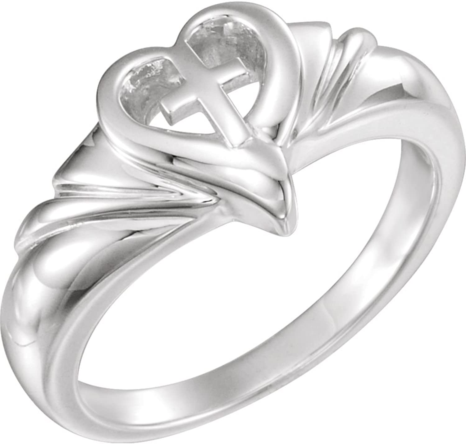 Beautiful Sterling silver 925 sterling Sterlingsilver Heart & Cross Ring