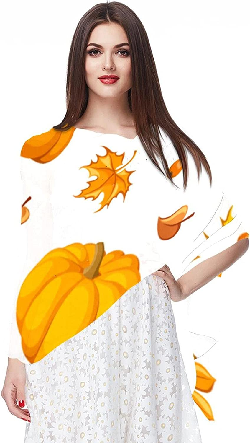 Scarfs for Women Lightweight Fashion Scarves Print Floral Pattern Scarf Shawl Wraps, Happy Thanksgiving Day Maple Leaves Pumpkins