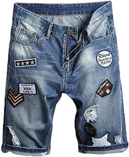 NUOVA linea uomo di marca Estate Strappato Sfilacciato Denim Slim Fit Jeans Corti al Ginocchio