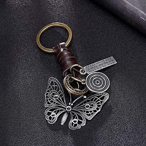 Mehrere Gitarre Schmetterling Anhänger Aufhängung Leder Schlüsselbund Schlüsselanhänger Charms für Schlüssel Autoschlüssel Zubehör Schlüsselbund an Einer Tasche - Schmetterling