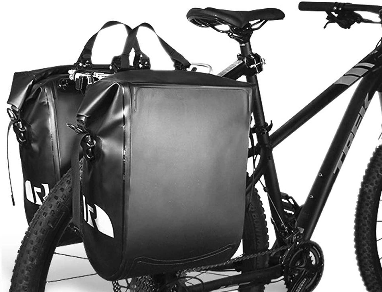 スポーツ用品 サイクリング旅行の反射ストリップのための大容量の革自転車の後部座席パニエフィット大容量の自転車パニエバッグ自転車パニエトランクバッグ、 スポーツアクセサリー