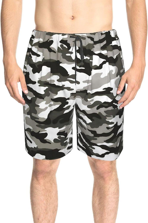 JINJUELS Mens Bathing Suits Gray Army Color Swim Boardshorts Drawstring 3D Printed Summer Boardshorts with Pockets