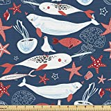 Ambesonne Narwhal Fabric by The Yard, Arctic Ocean Fauna with School of Fish Narwhal and Jellyfish Sketch, Decorative Fabric for Upholstery and Home Accents, 2 Yards, Royal Blue