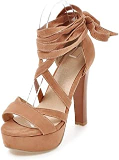 Fairly New Supper High Heels Platform Cross Tied Strappy Shoes Sexy Party Gladiator,Orange,9.5